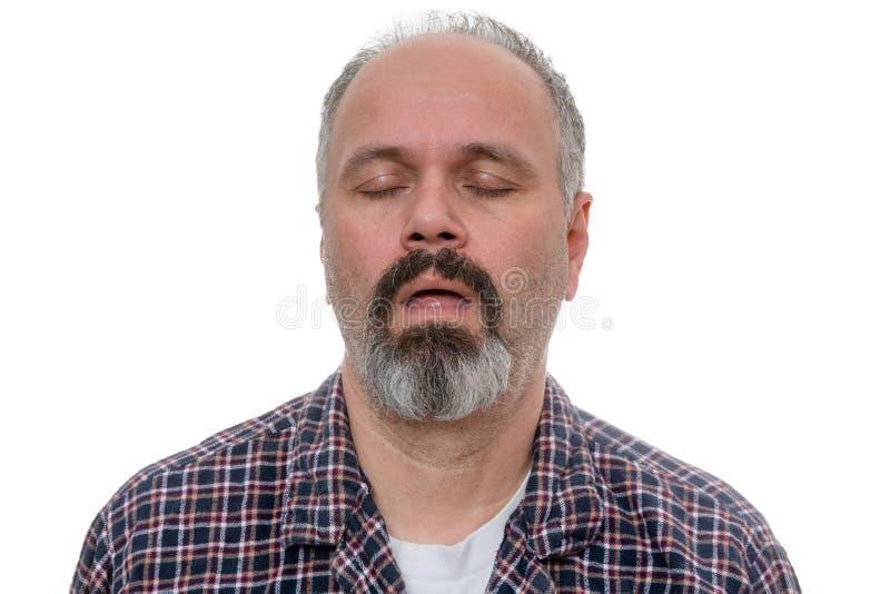 L'homme somnolent avec la chemise de barbe et de plaid ronfle photos libres de droits