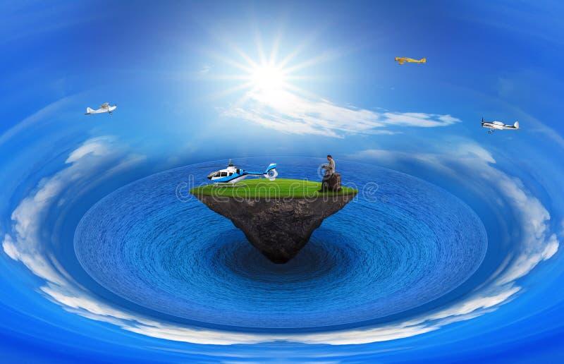L'homme sur la terre d'herbe verte avec l'hélicoptère et le vol surfacent sur le ciel bleu pour le thème de déplacement et de tran image libre de droits