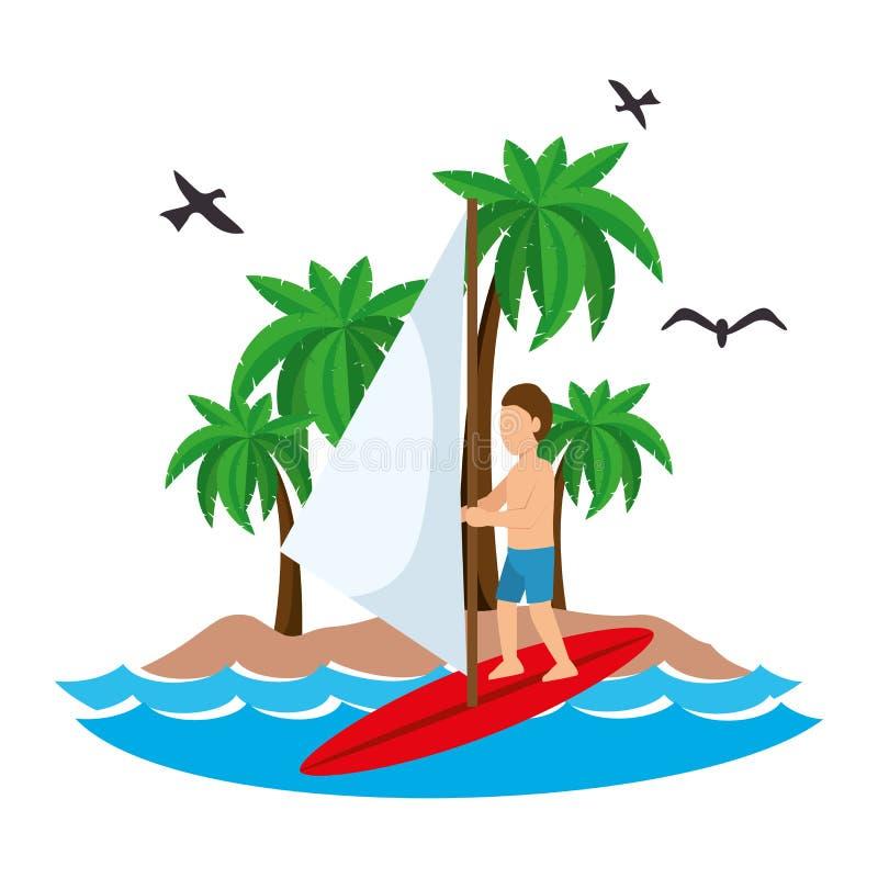 L'homme surfant ondule la plage tropicale illustration stock