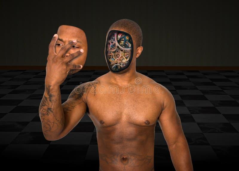 L'homme surréaliste de robot enlèvent le visage images libres de droits