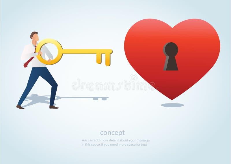 L'homme tenant la grande clé avec le trou de la serrure sur l'illustration rouge de vecteur de coeur illustration libre de droits