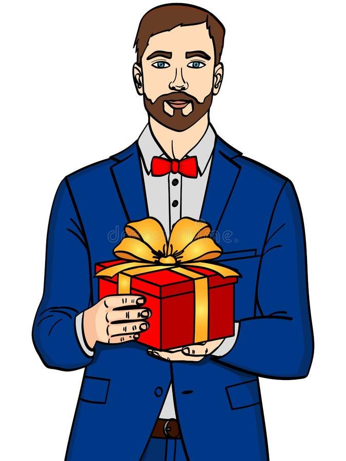 L'homme tient le grand boîte-cadeau Vecteur dans le rétro style comique d'art de bruit Un type avec Noël ou le cadeau d'anniversa illustration de vecteur