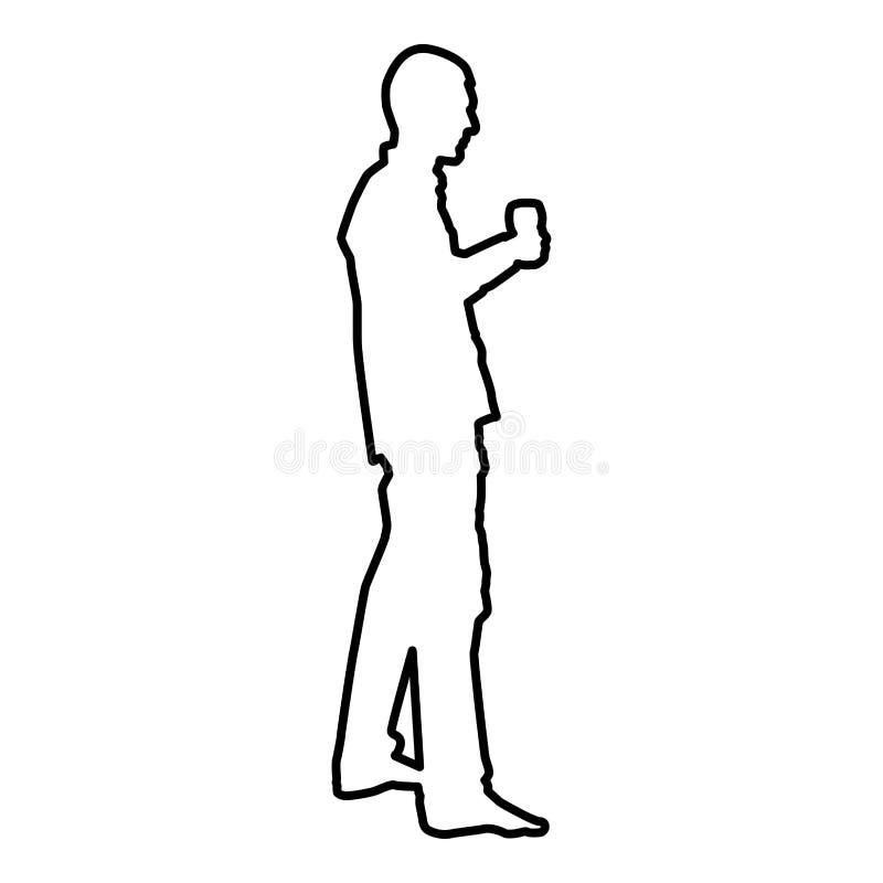 L'homme tient le verre disponible de vin environ pour faire pour griller l'image plate de style de couleur d'icône de concept de  illustration libre de droits