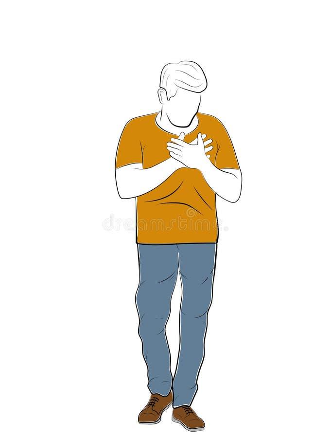 L'homme tient ses mains sur le coeur Maladie cardiaque Illustration de vecteur illustration de vecteur