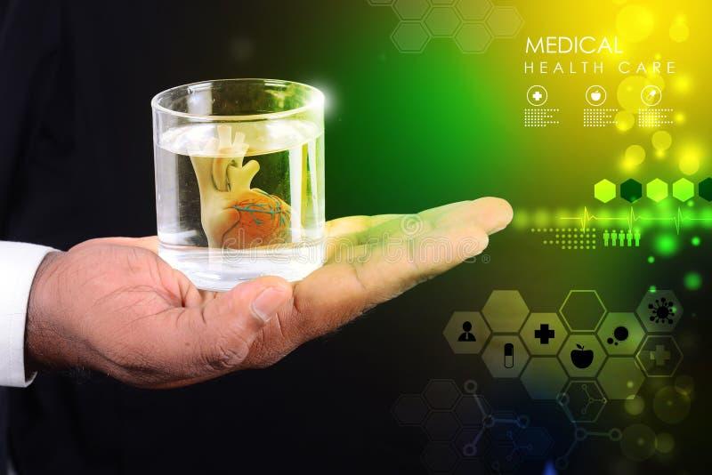 L'homme tient un coeur en verre de l'eau photographie stock libre de droits