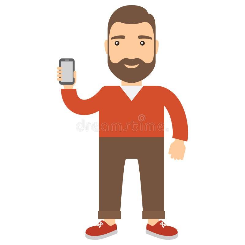 L'homme tient un téléphone portable illustration de vecteur