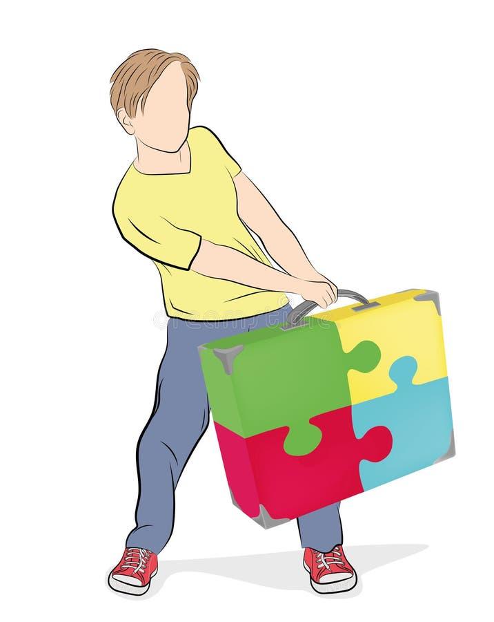 L'homme tire une valise des puzzles Illustration de vecteur illustration stock