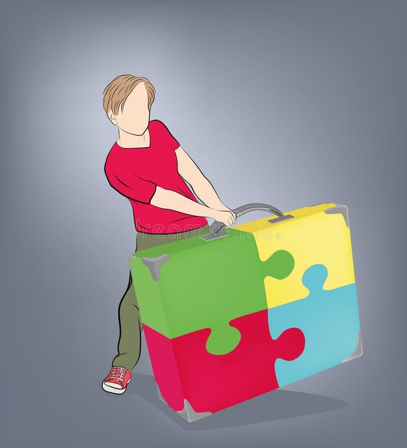 L'homme tire une valise des puzzles Illustration de vecteur illustration libre de droits