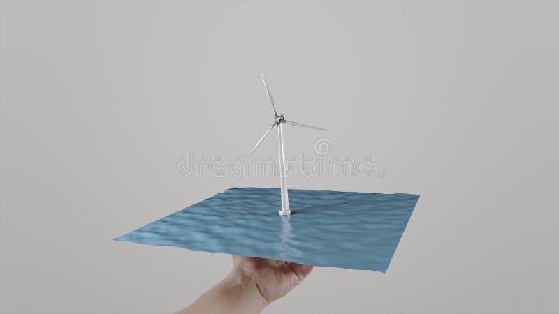 L'homme tord la turbine de vent disponible située sur l'eau comme un plateau Fond gris-clair Puissance écologique alternative image libre de droits