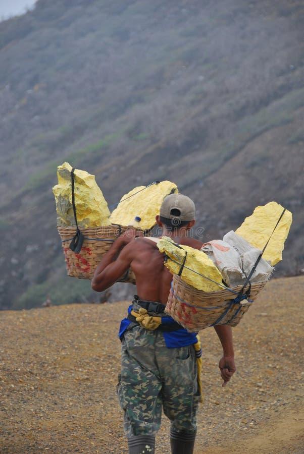 L'homme transportant en charrette le phosphore à ijen image libre de droits