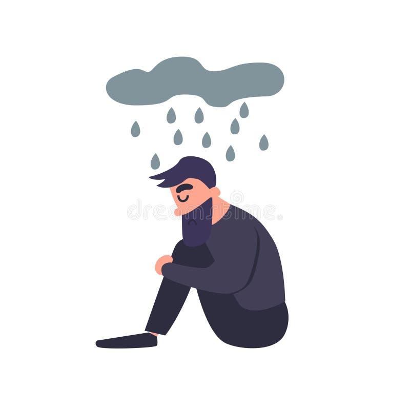 L'homme triste s'assied sous la pluie Le jeune homme déprimé seul morne de tristesse pense au mauvais Type malheureux Trouble men illustration de vecteur