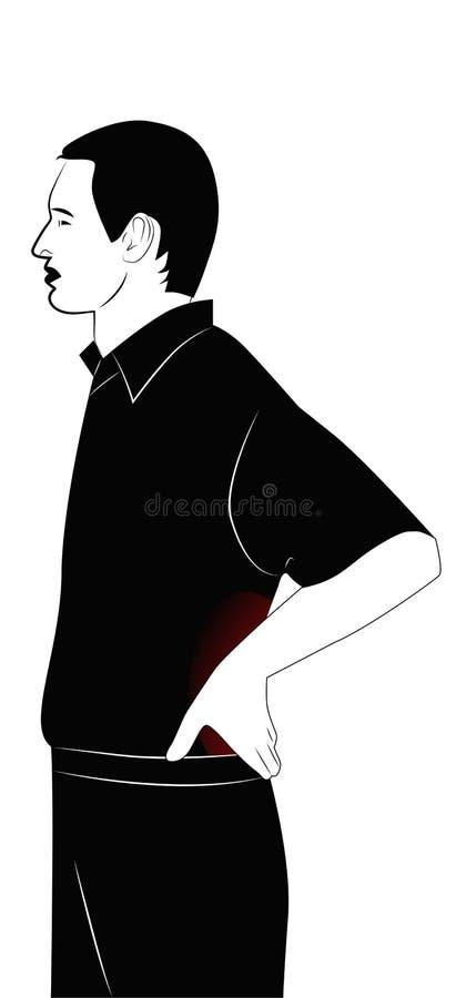 L'homme a un dos endolori illustration stock