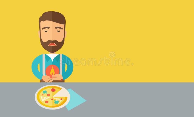 L'homme a une brûlure d'estomac ou une douleur abdominale après qu'il illustration de vecteur