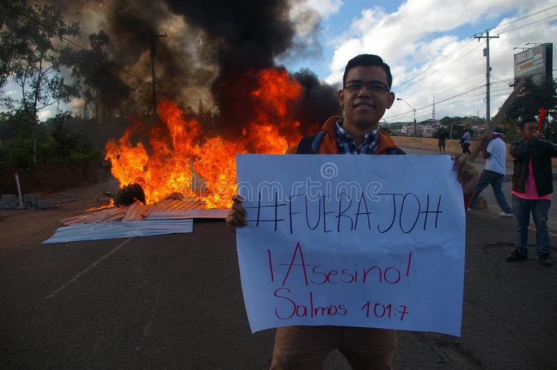 L'Honduras marcia di protesta gennaio 2018 Tegucigalpa, Honduras 11 fotografia stock