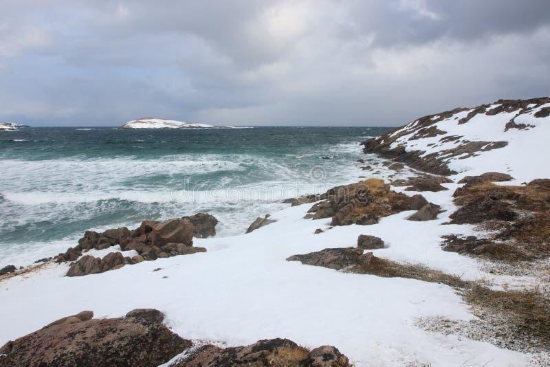 L'horaire d'hiver, rivage de neige, Russie, paysage de belle nature sauvage de nord voit Belle glace d'hiver de neige et paysage  photos stock