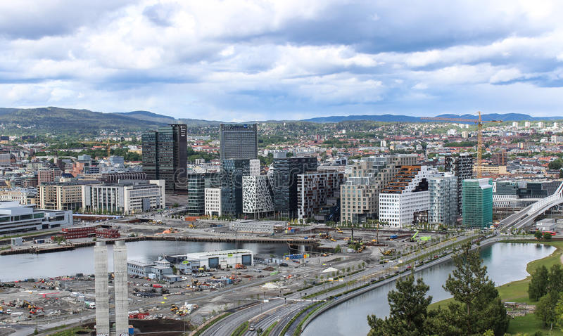 L'horizon d'Oslo, Norvège image libre de droits