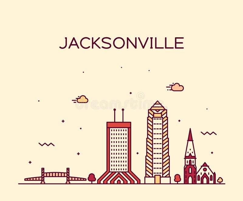 L'horizon de Jacksonville, la Floride Etats-Unis dirigent la ligne ville illustration de vecteur