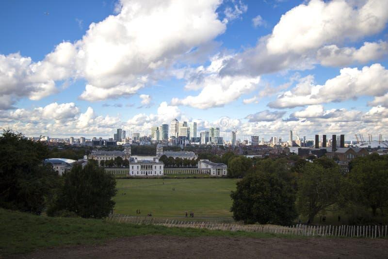 L'horizon de Londres - prise de Greenwich image libre de droits