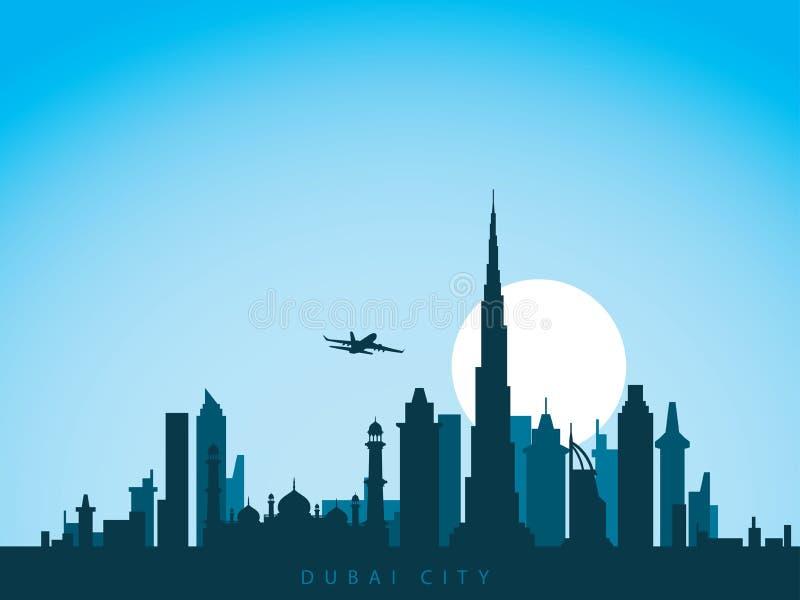 L'horizon de ville de conception de fond de vecteur des émirats uni arabes du Dubaï avec le vol d'avion au-dessus de la ville et  illustration stock