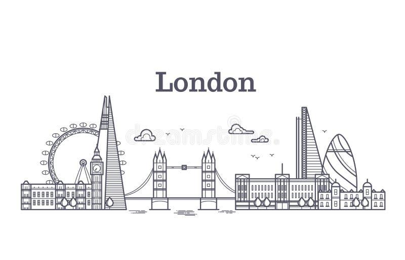 L'horizon de ville de Londres avec les bâtiments célèbres, points de repère de l'Angleterre de tourisme décrivent l'illustration  illustration de vecteur