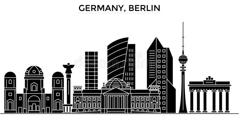 L'horizon de ville de vecteur d'architecture de l'Allemagne, Berlin, paysage urbain de voyage avec des points de repère, bâtiment illustration de vecteur