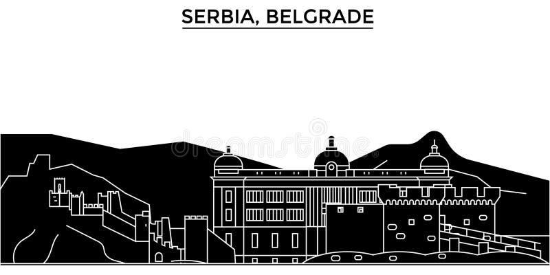 L'horizon de ville de vecteur d'architecture de la Serbie, Belgrade, paysage urbain de voyage avec des points de repère, bâtiment illustration libre de droits