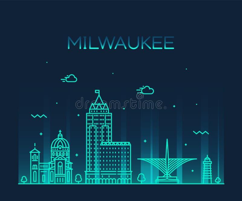 L'horizon le Wisconsin Etats-Unis de Milwaukee dirigent la ville linéaire illustration stock