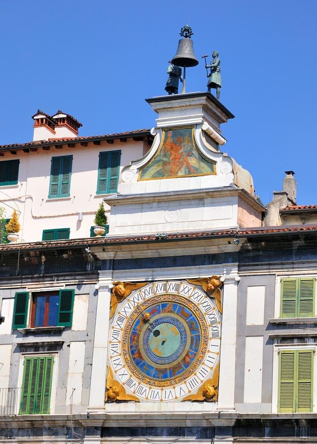 Horloge astronomique à Brescia, Italie images stock
