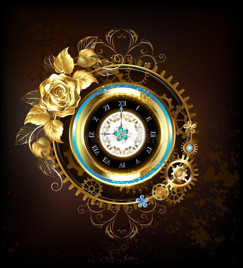 L'horloge d'or avec de l'or s'est levée illustration stock