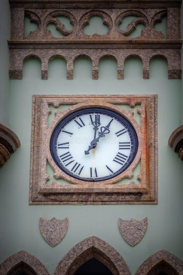 L'horloge de l'île fiscale - palais fiscal d'Ilha dans la baie de Guanabara - Rio de Janeiro, Brésil photo libre de droits