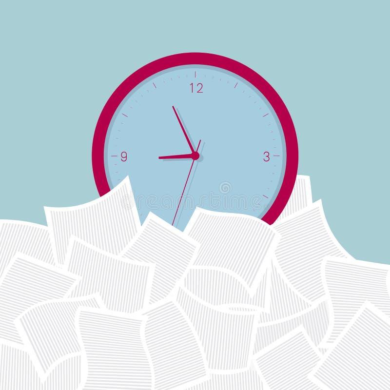 L'horloge est dans le tas de dossier illustration de vecteur