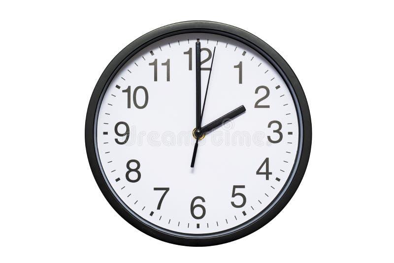 L'horloge murale montre à temps 2 heures sur le fond d'isolement blanc Horloge murale ronde - vue de face Quatorze heures images libres de droits