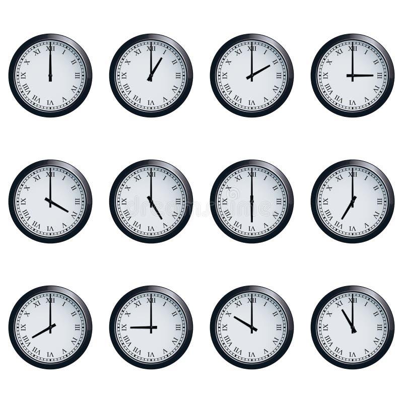 L'horloge a placé avec les chiffres romains, chronométrés à chaque heure illustration stock