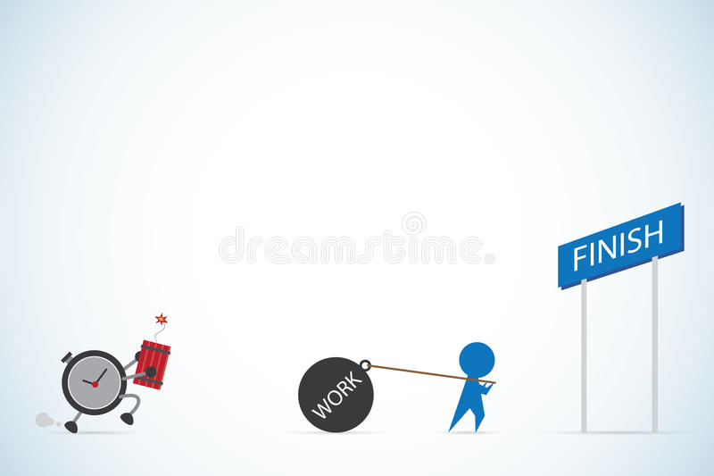 L'horloge portent la bombe pour chasser l'homme d'affaires et pour fonctionner la boule, la date-butoir et le concept d'affaires illustration libre de droits