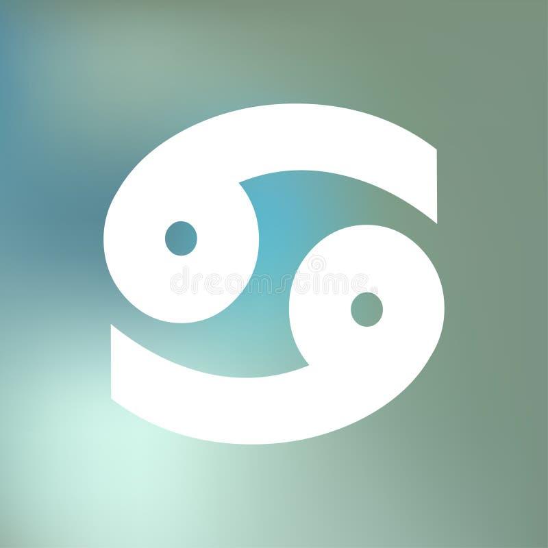 L'HOROSCOPE de Cancer SIGNE ZODIAQUE du 21 juin - 20 juillet, sur un fond bleu de brouillard de bokeh illustration de vecteur