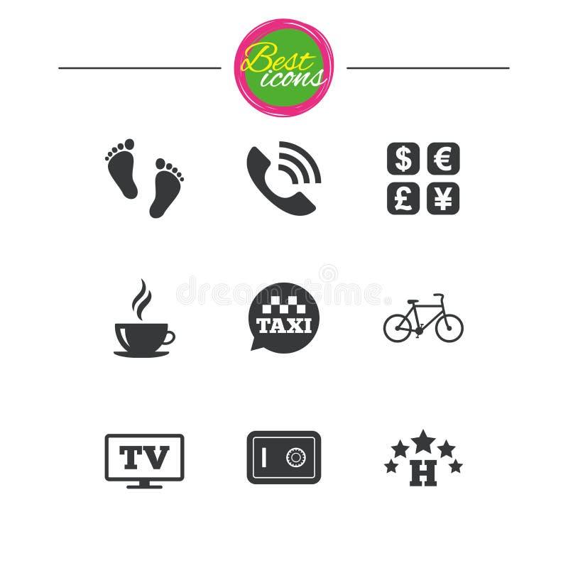 L'hotel, appartamento assiste le icone Segno del caffè royalty illustrazione gratis