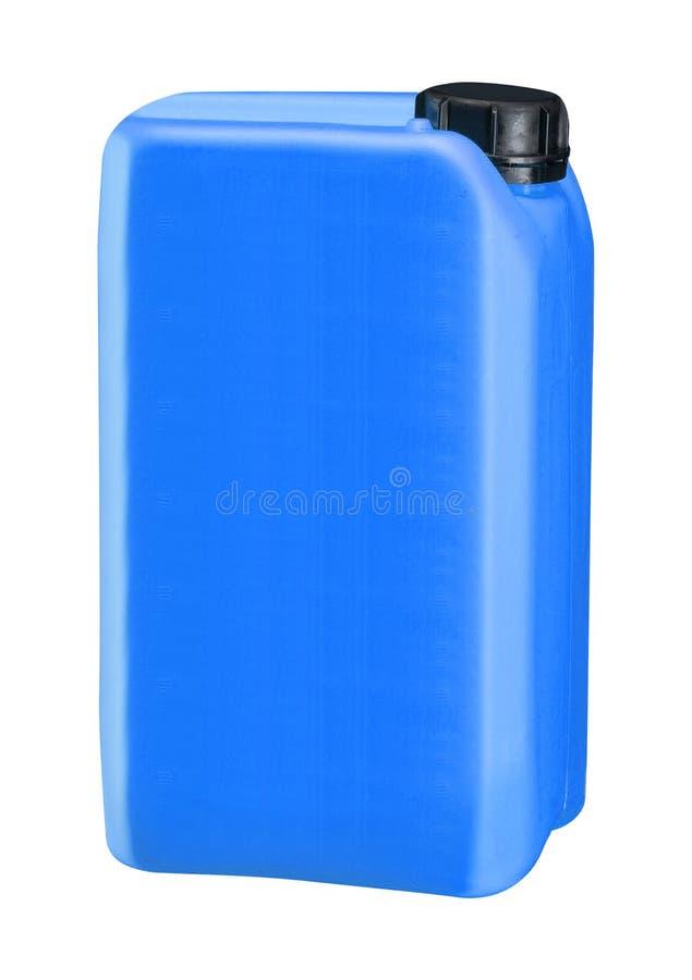 L'huile en plastique bleue peut d'isolement sur le blanc images stock