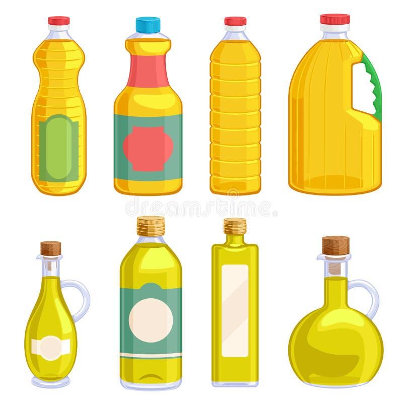 L'huile végétale a assorti des bouteilles réglées illustration libre de droits