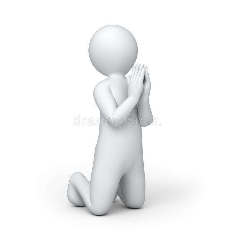 L'humain 3d de prière illustration stock