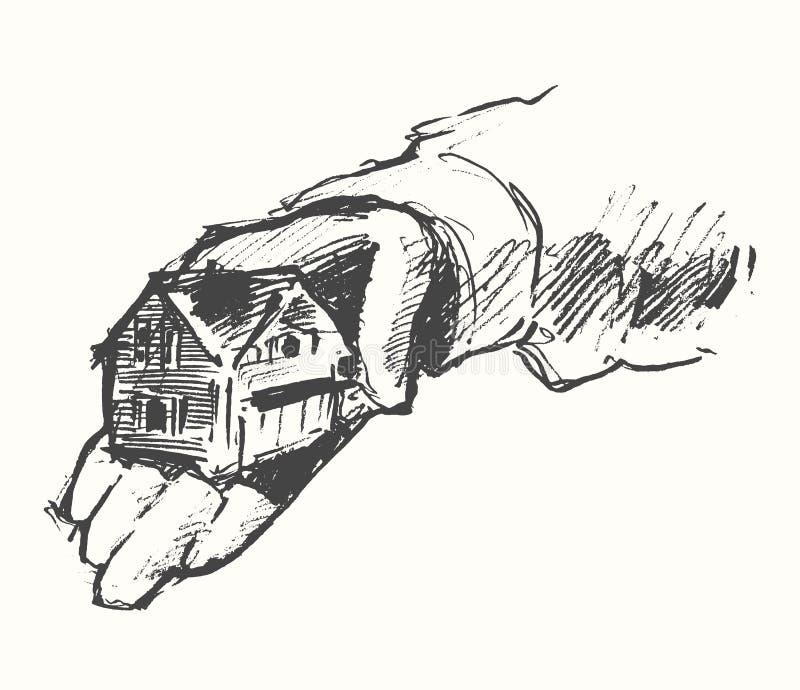 L'humain de Chambre remet le croquis de vecteur dessiné par fond illustration de vecteur