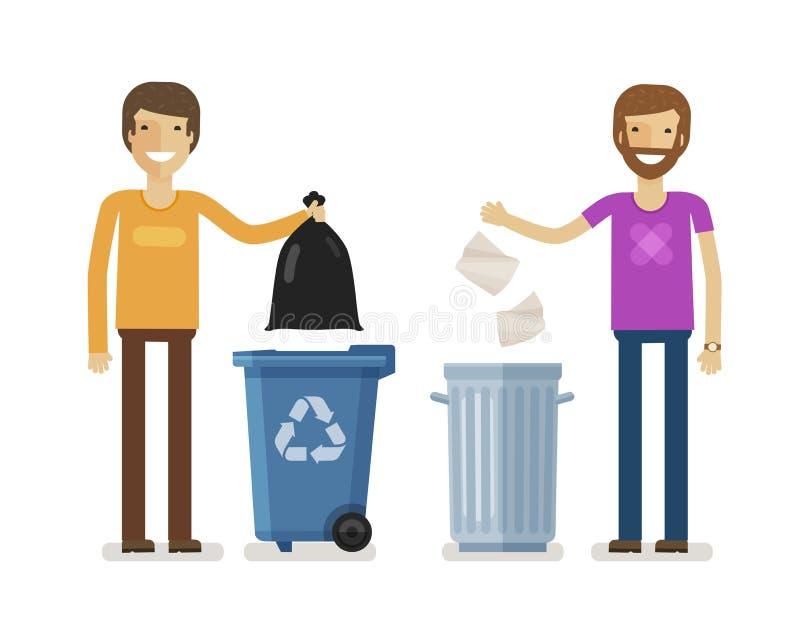 L'humain, homme jette des déchets dans la poubelle de déchets Offrir des personnes, écologie, concept d'environnement Vecteur pla illustration stock