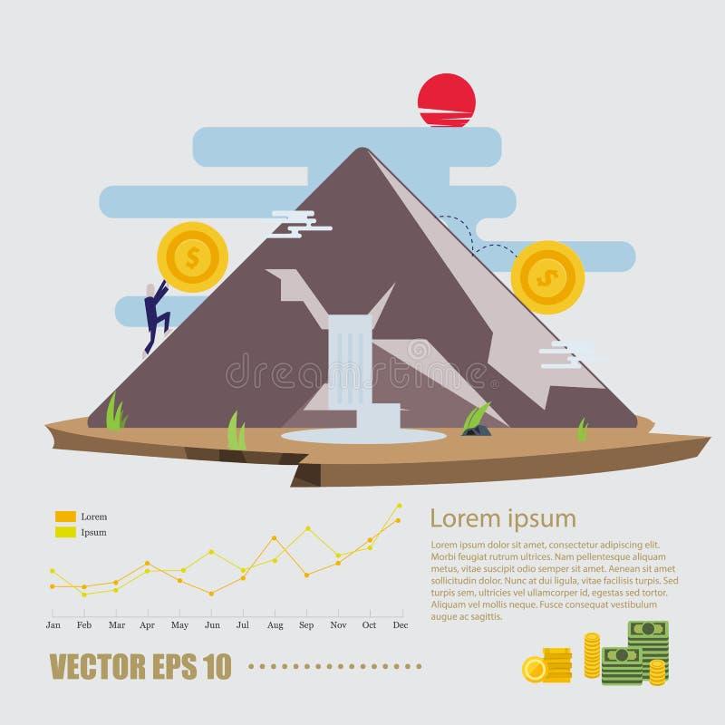 L'humain pousse une grande pièce de monnaie jusqu'au dessus de la montagne Finances et mone illustration stock