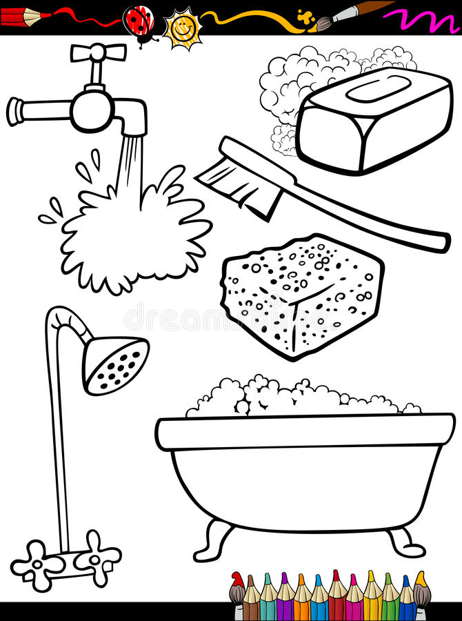 L'hygiène de bande dessinée objecte la page de coloration illustration de vecteur
