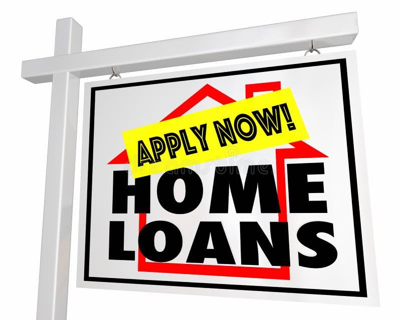 L'hypothèque de prêts immobiliers appliquent maintenant la Chambre à vendre le signe 3d Illustratio illustration libre de droits