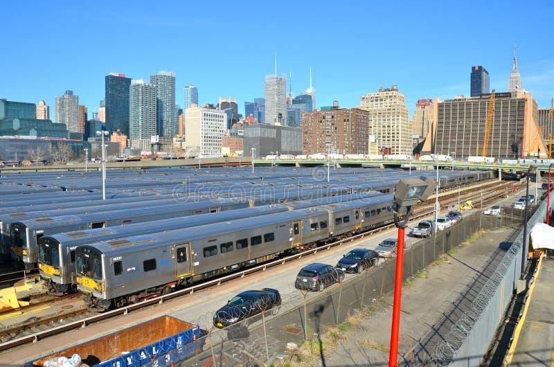 L'iarda del treno della costa Ovest per la stazione della Pensilvania in New York dal Highline immagine stock