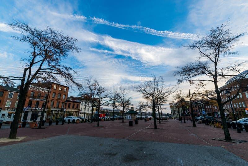 L'iarda della corte nell'est storico del centro del porto abbatte il punto, Baltim immagini stock