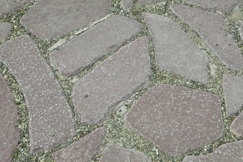 L'iarda interna è pavimentata con la pietra decorativa Percorso del giardino pavimentato con una pietra naturale in un giardino d immagini stock libere da diritti