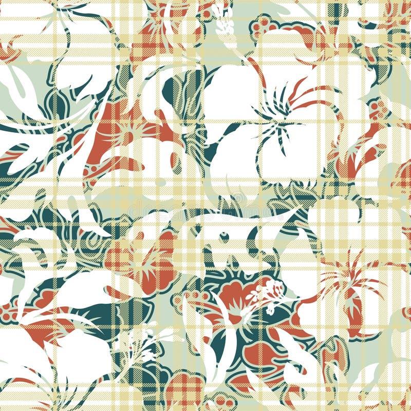 L'ibisco fiorisce il reticolo senza cuciture illustrazione di stock