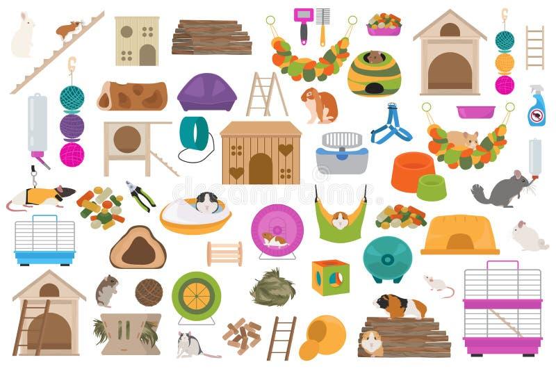 L'icône à la maison d'accessoires de rongeurs d'animal familier a placé le style plat d'isolement sur le blanc Collection de soin illustration stock