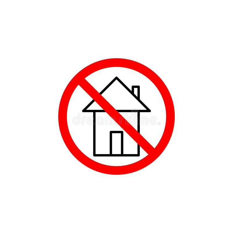 L'icône à la maison interdite sur le fond blanc peut être employée pour le Web, logo, l'appli mobile, UI UX illustration libre de droits